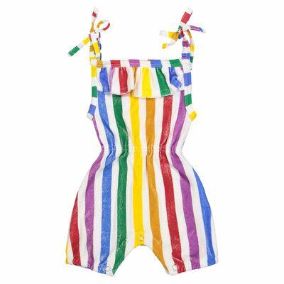9242b1f0abe3 Hugo Loves Tiki Terry Ruffle Playsuit - Rainbow Stripe